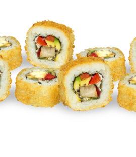 Sushifreunde Crunchy Chicken Inside Out mit Hühnerbrust, Frischkäse, Paprika und Avocado