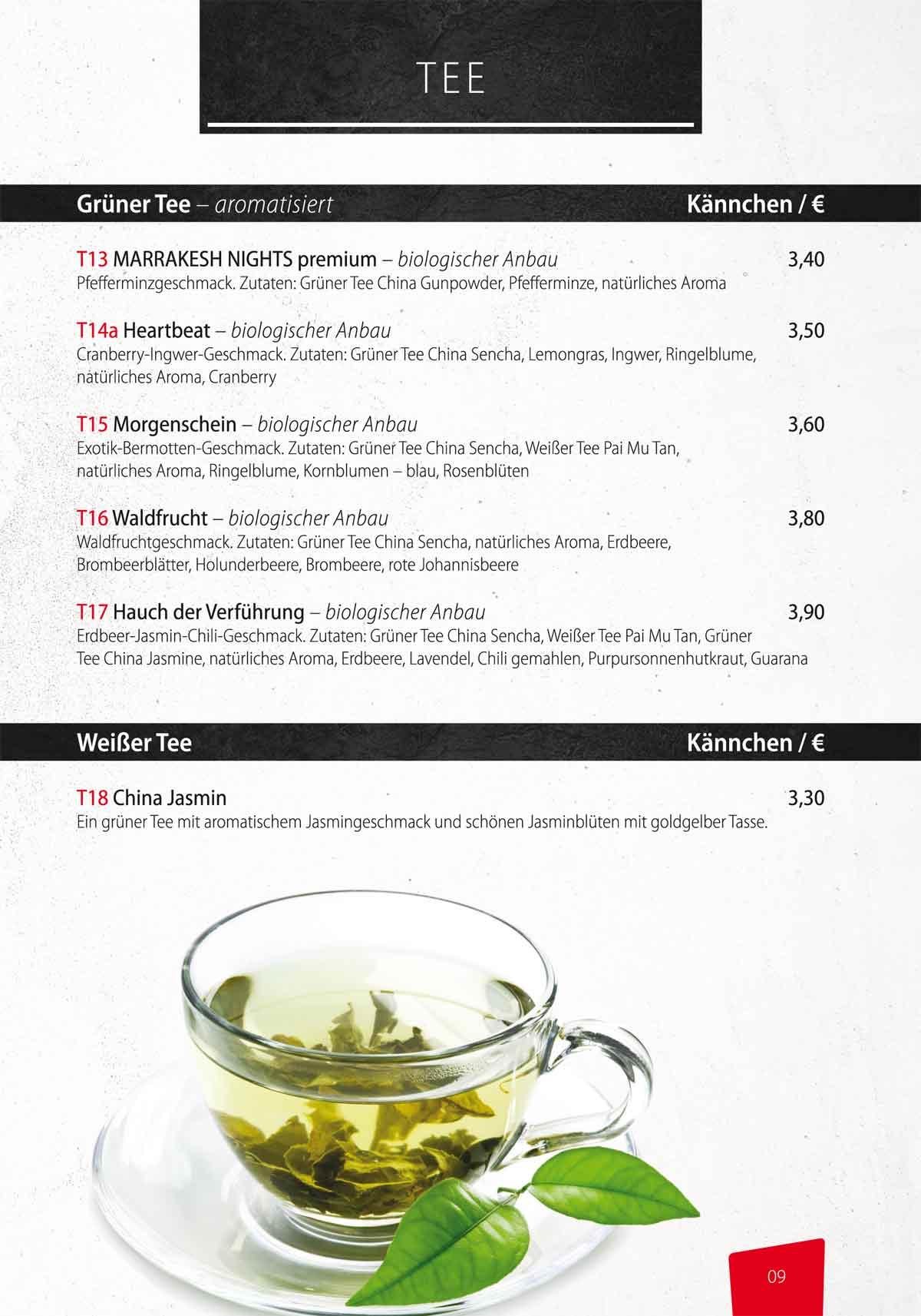 Sushifreunde Getränkekarte im Restaurant   Grüner und Weisser Tee