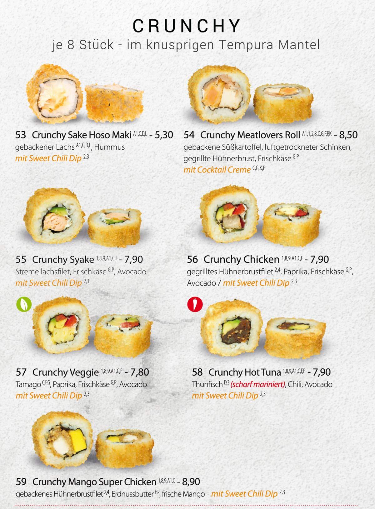 Sushifreunde | Speisekarte | Crunchy - Je 8 Stück im knusprigen Tempura Mantel
