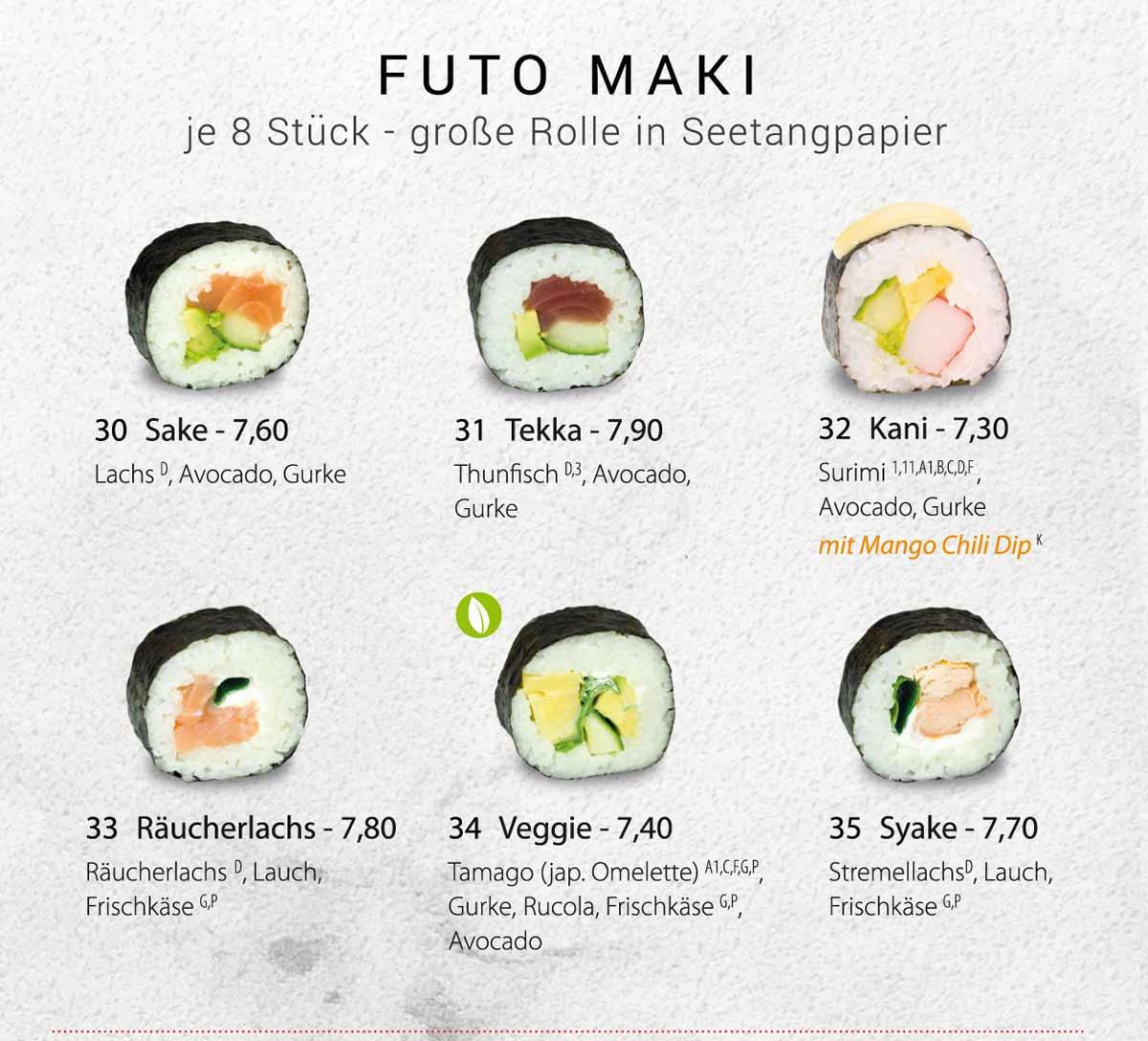 Sushifreunde | Speisekarte | Futo Maki - Große Rolle in Seetangpapier