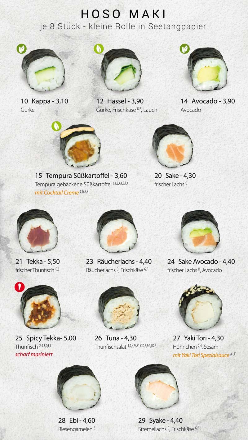Sushifreunde Speisekarte | Hoso Maki
