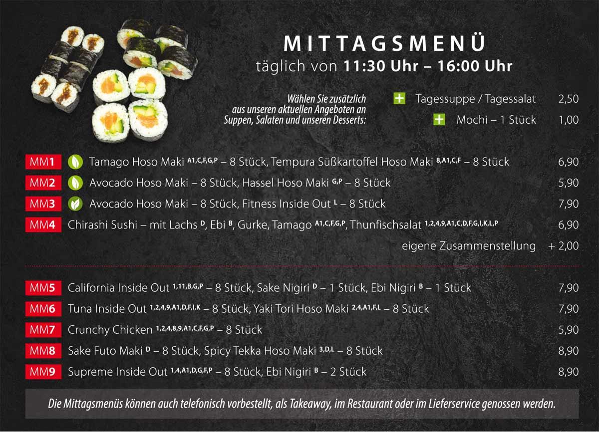 Sushifreunde Speisekarte | Mittagsmenü