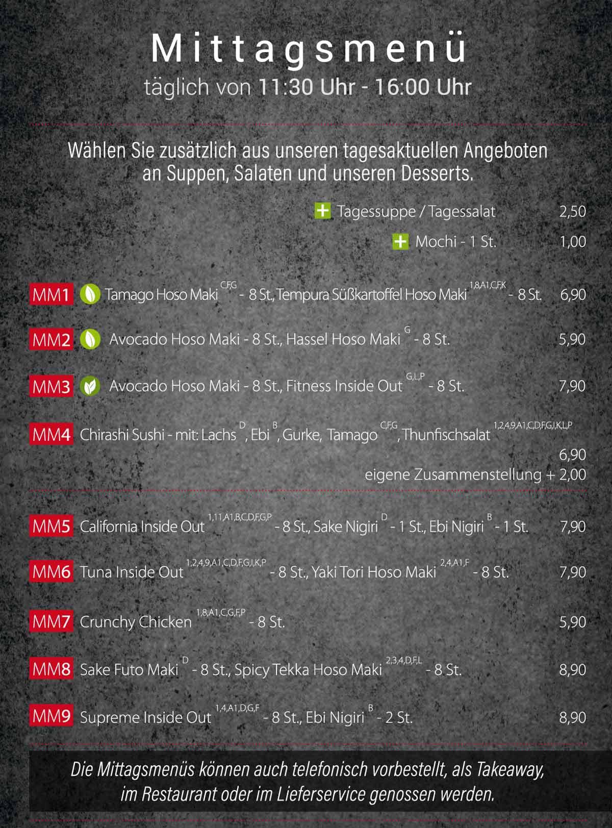 Sushifreunde | Speisekarte | Mittagsmenü - Täglich von 11:30 Uhr bis 16:00 Uhr