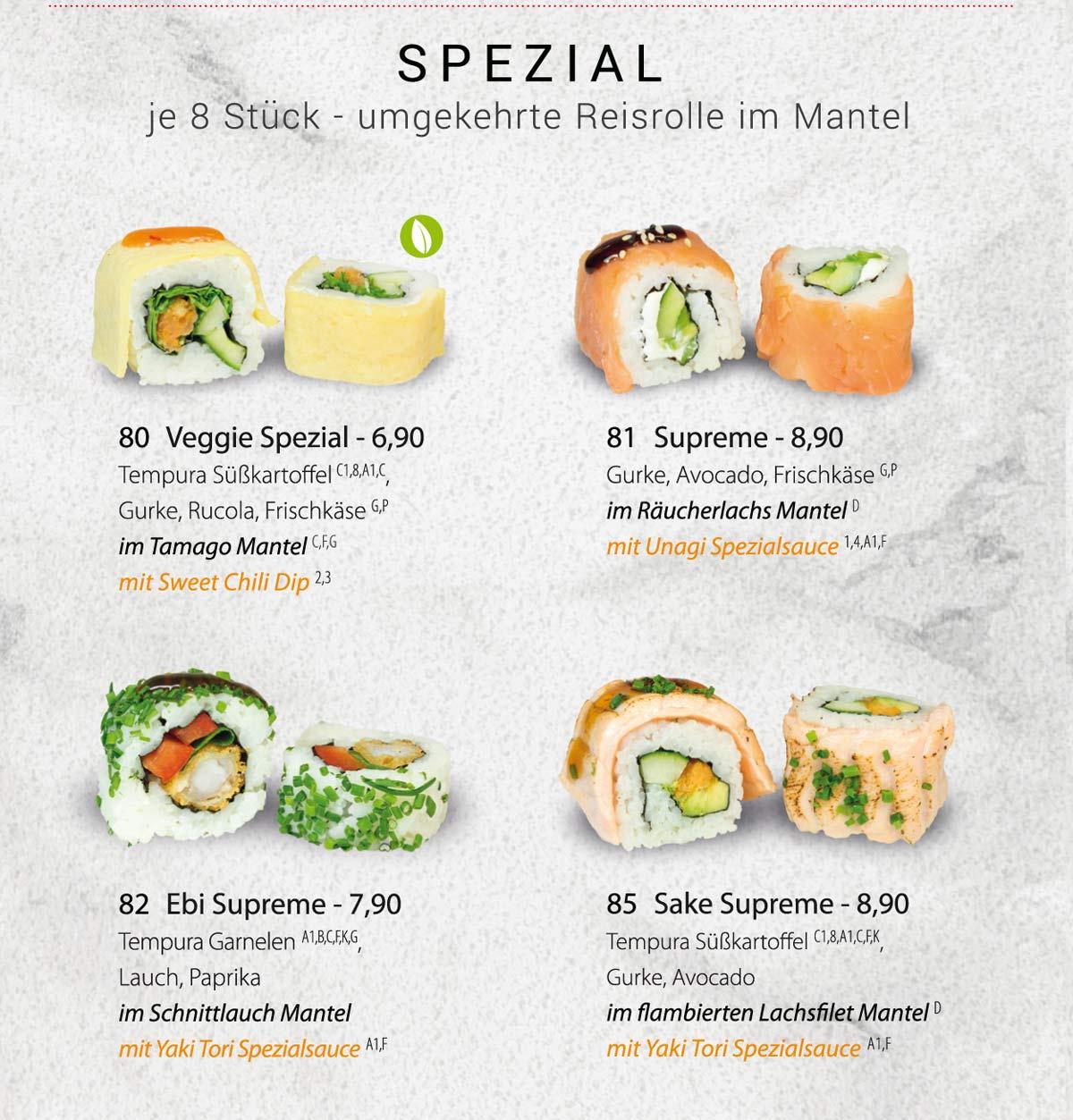 Sushifreunde | Speisekarte | Spezial - Umgekehrte Reisrolle im Mantel