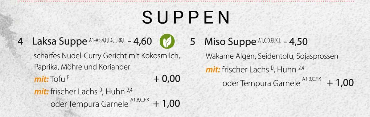 Sushifreunde | Speisekarte | Suppen - Laksa & Miso