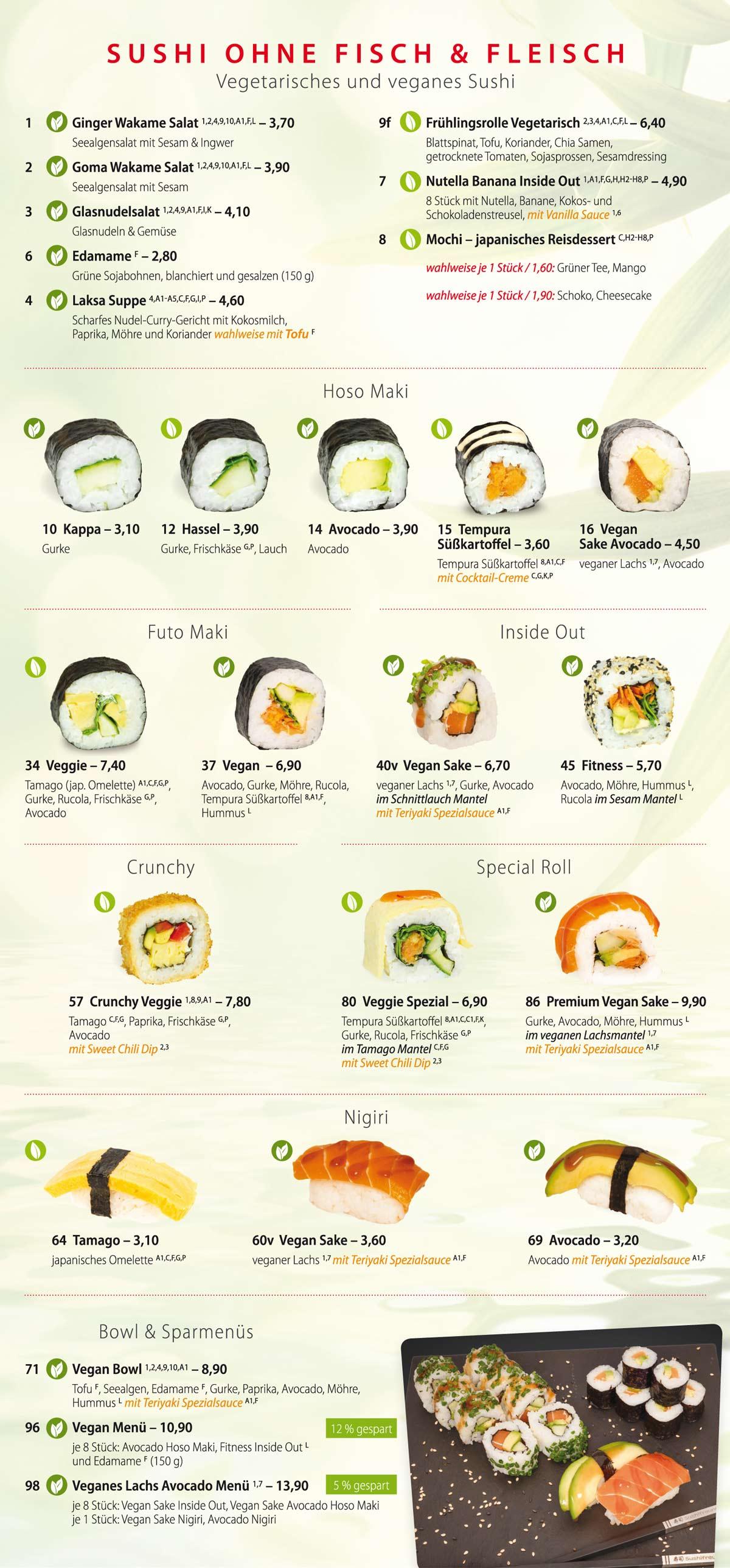 Sushifreunde Speisekarte | Vegetarisches & Veganes Sushiangebot