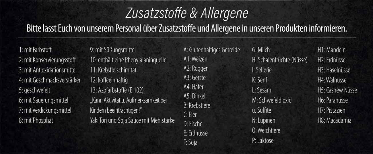 Sushifreunde | Speisekarte - Alergene und Zusatzstoffe